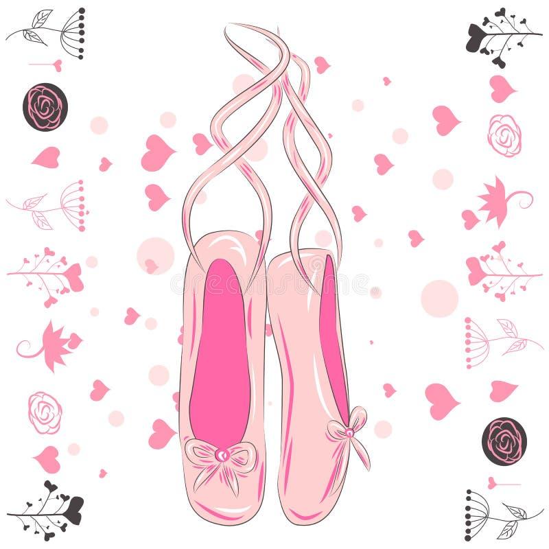 Zapatos rosados delicados del pointe con las cintas blancas para el baile del ballet ilustración del vector