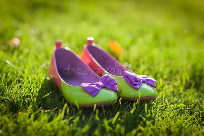 Zapatos verdes agradables con los arcos violetas imagen de archivo libre de regalías
