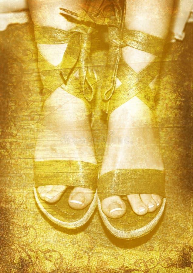 Zapatos verdes de Grunge ilustración del vector