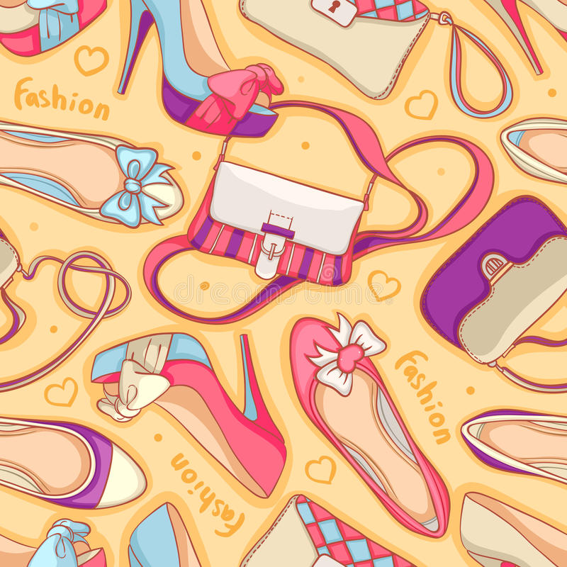 Zapatos y bolsos ilustración del vector
