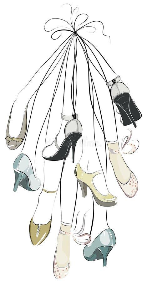 Zapatos y piernas en un manojo stock de ilustración