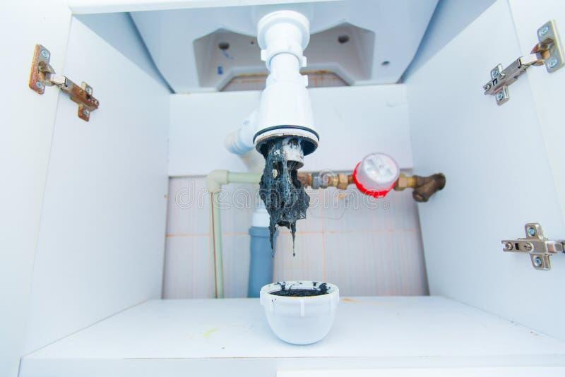 Zapchana zlew drymba Unclog odciek od hairs i inny materiał Sprawdzać Hydraulicznego oklepa dla drenarskiej wody pod zlew zdjęcia stock