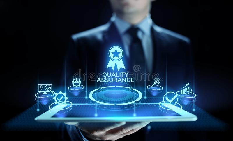 Zapewnienie jakości, gwarancja, standardy, ISO certyfikat i normowania pojęcie, zdjęcia stock