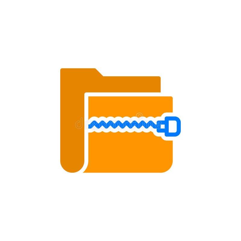 Zapina archiwum ikony skoroszytowego wektor, wypełniający mieszkanie znak, stały kolorowy piktogram odizolowywający na bielu ilustracji