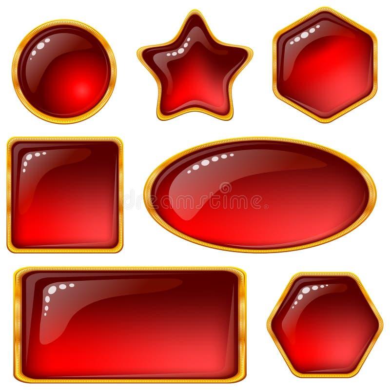 zapina klejnotów czerwieni set ilustracji