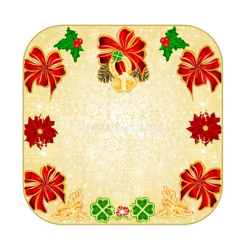 Zapina kwadratowych Bożenarodzeniowych dekoracja płatków śniegu szczęsliwych symbole Cztery liść podkowy Koniczynowego świniowate ilustracja wektor