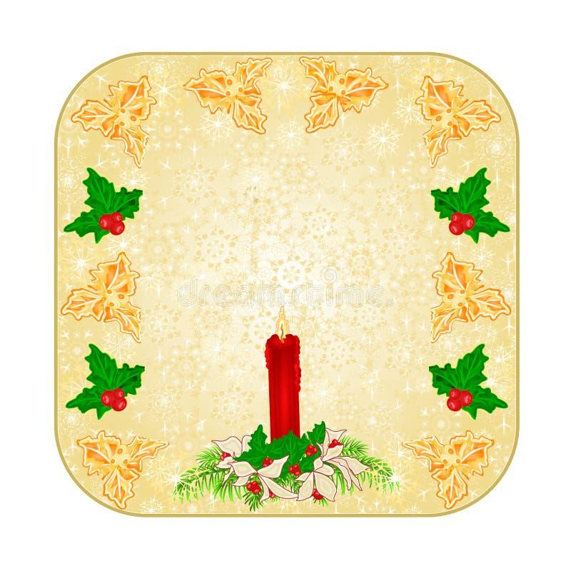 Zapina kwadratowych Bożenarodzeniowych dekoracja płatki śniegu candlestick i poinseci czerwony rocznika wektorowy ilustracyjny ed ilustracja wektor