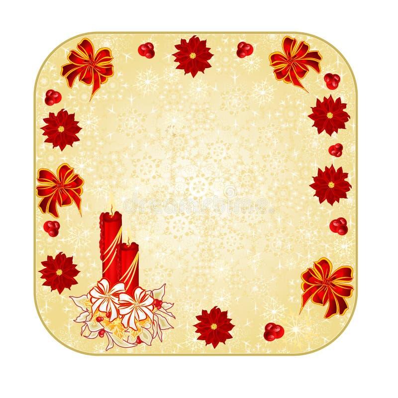 Zapina kwadratowych Bożenarodzeniowych dekoracja płatki śniegu z candlestick ilustracji