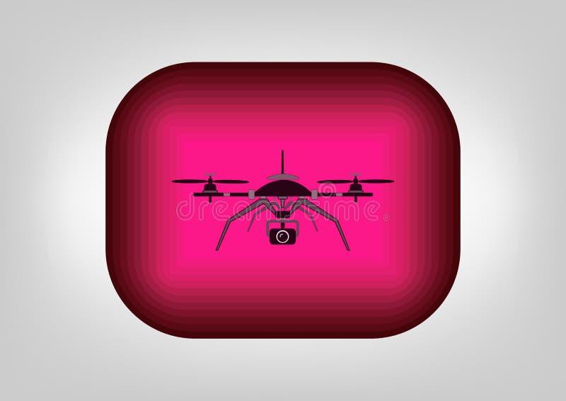 Zapina trutnia, uav quadcopter trutnia latanie, technologia royalty ilustracja