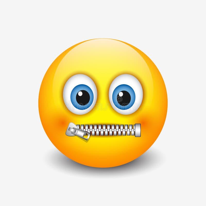 Zapinający usta smiley, emoticon, emoji - wektorowa ilustracja royalty ilustracja