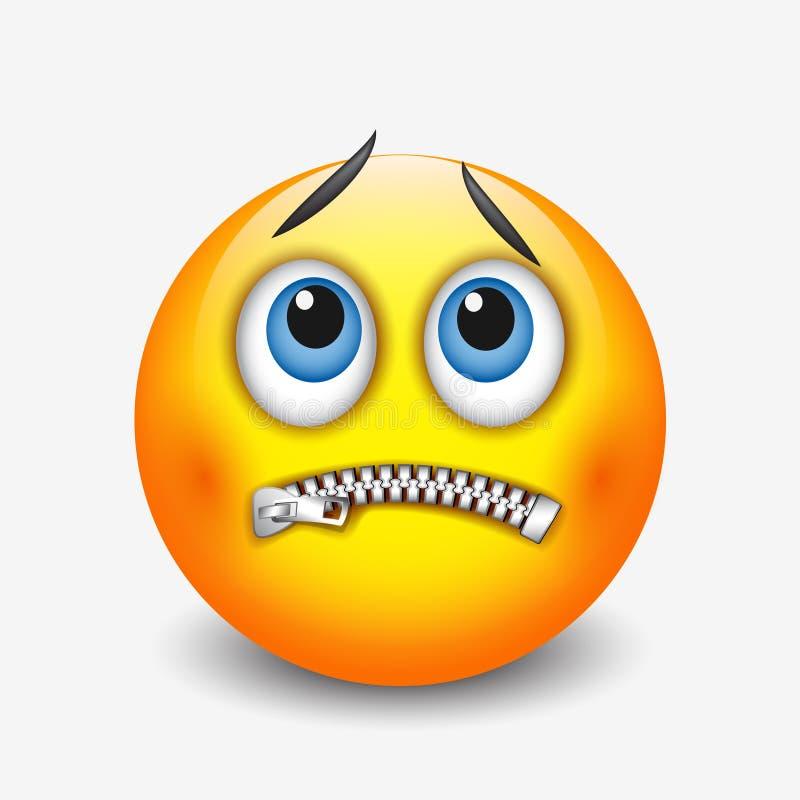 Zapinający usta smiley, emoticon, emoji - wektorowa ilustracja ilustracja wektor