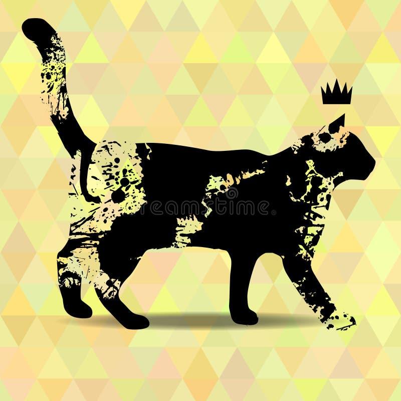 Zaplamia sylwetkę kot ilustracja wektor