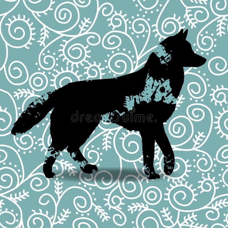 Zaplamia sylwetkę pies royalty ilustracja