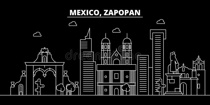 Zapopan konturhorisont Mexico - Zapopan vektorstad, mexikansk linjär arkitektur, byggnader Zapopan lopp stock illustrationer