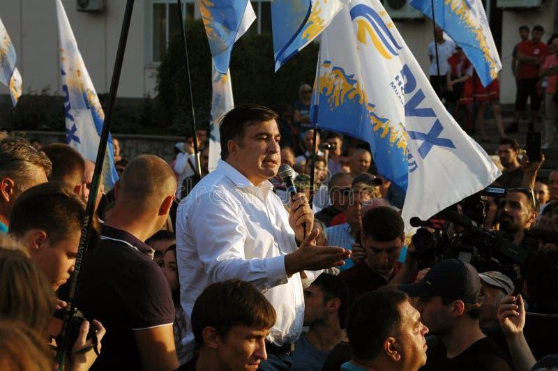 """ZAPORIZHIA, †de UCRANIA """"21 de septiembre de 2017: Reunión política de Mikheil Saakashvili con la gente en cuadrado en el centr foto de archivo libre de regalías"""