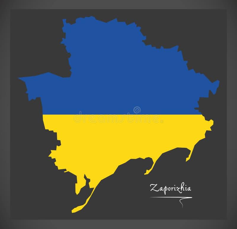 Zaporizhia map of Ukraine with Ukrainian national flag illustration. Zaporizhia map of Ukraine with Ukrainian national flag royalty free illustration
