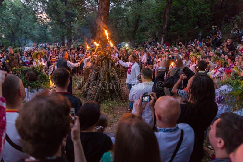 ZAPORIZHIA, UKRAINE-JUNE 21: Celebrating Kupala Night 21, 2014 i stock photography