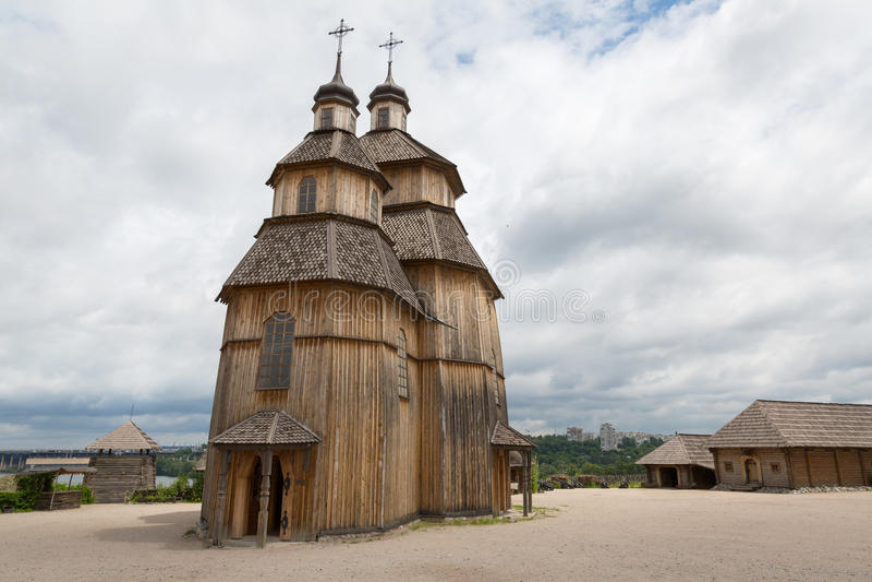 Zaporizhian Sich. Fortified settlement Ukrainian Cossacks 16-18 centuries royalty free stock photo