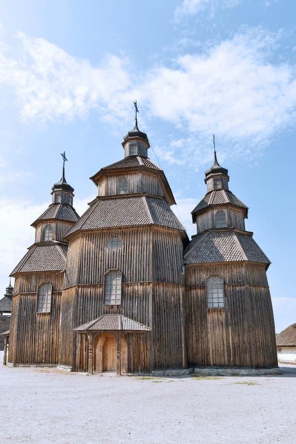 Zaporozhskaya Sich buildings on Khortytsia island, Ukraine. Medieval wooden church, temple of Cossacks. Buildings on Zaporozhskaya Sich on island of Khortytsia royalty free stock images