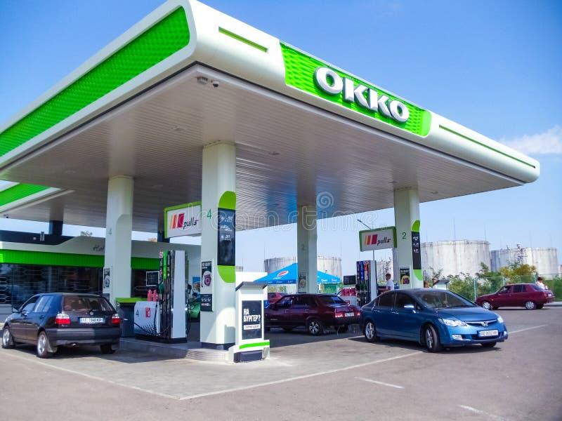 Zaporozhye, Ucrânia - 26 de agosto de 2019: Estação de combustível OKKO perto de Zaporozhye fotos de stock