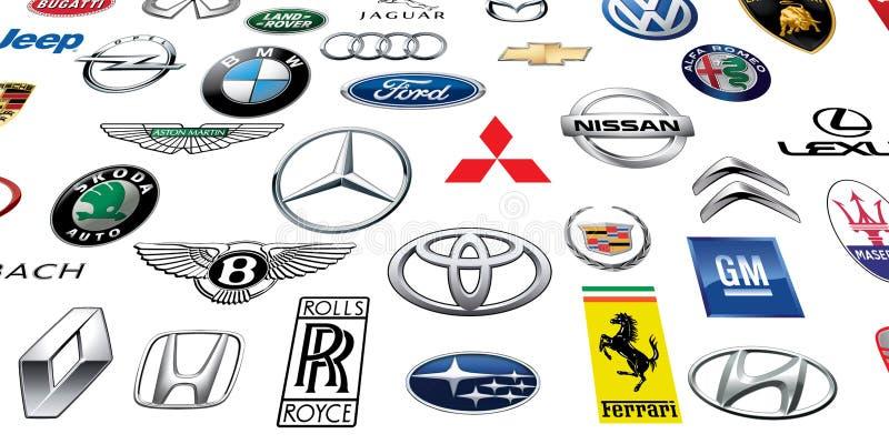 ZAPOROZHYE, UCRÂNIA - 20 DE DEZEMBRO DE 2017: Coleção dos logotipos dos tipos diferentes dos carros, impressos no papel ilustração do vetor
