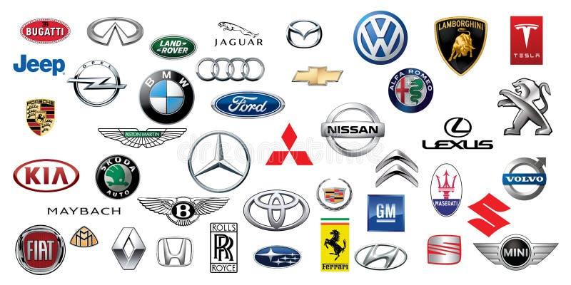 ZAPOROZHYE UKRAINA - DECEMBER 20, 2017: Logosamling av olika märken av bilar som skrivs ut på papper vektor illustrationer