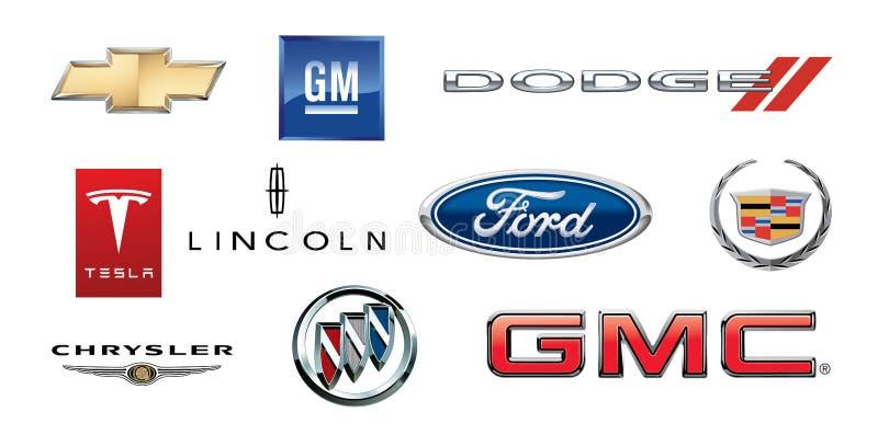 ZAPOROZHYE UKRAINA, GRUDZIEŃ, - 20,2017: logo popularni Amerykańscy gatunki samochody, drukujący na papierze