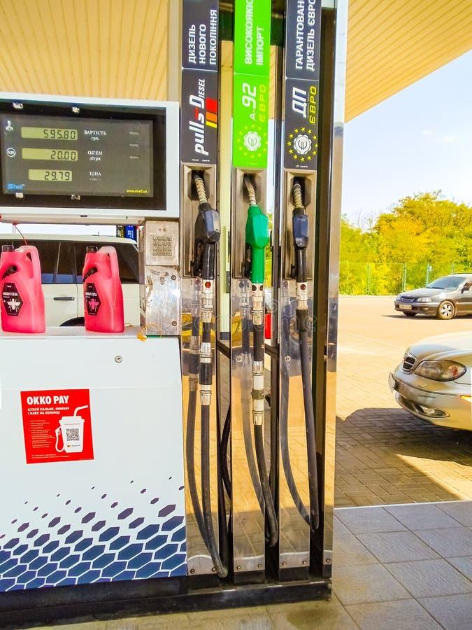 Zaporozhye, Ukraine - August, 26, 2019: OKKO fuel station near Zaporozhye. OKKO is a leading Ukrainian company, whose core business is the retail sale of fuel royalty free stock photos