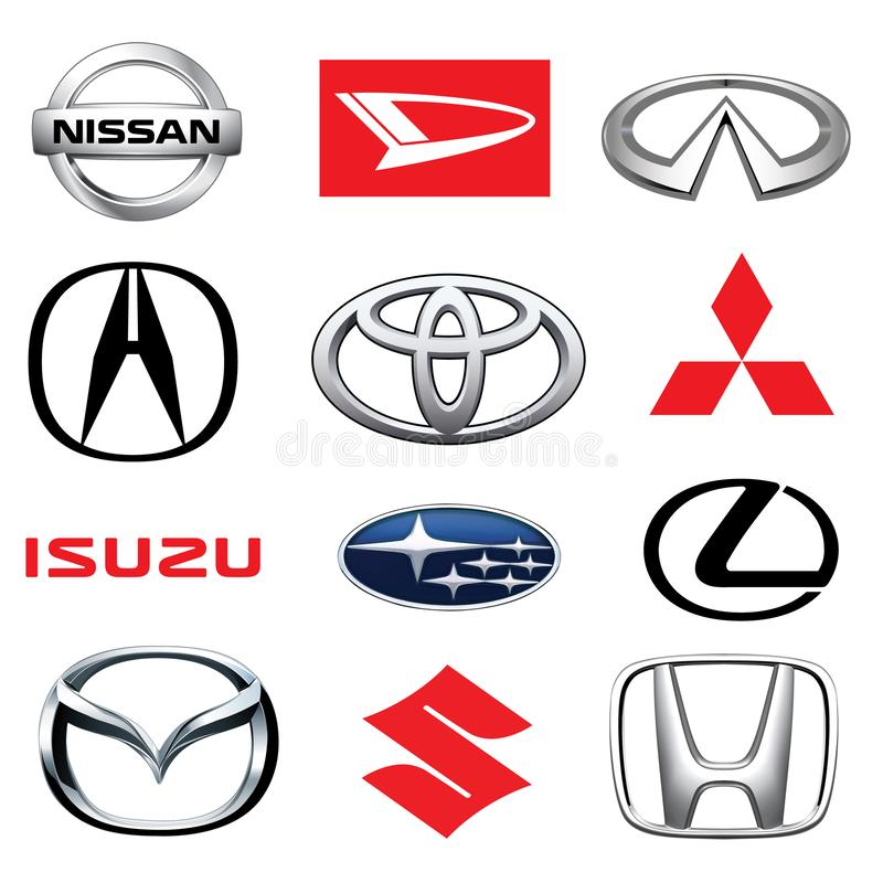 ZAPOROZHYE, UKRAINE - DECEMBER 20, 2017:Collection of japanese car logos printed on white paper: Mazda, Honda, Mitsubishi, Toyota vector illustration
