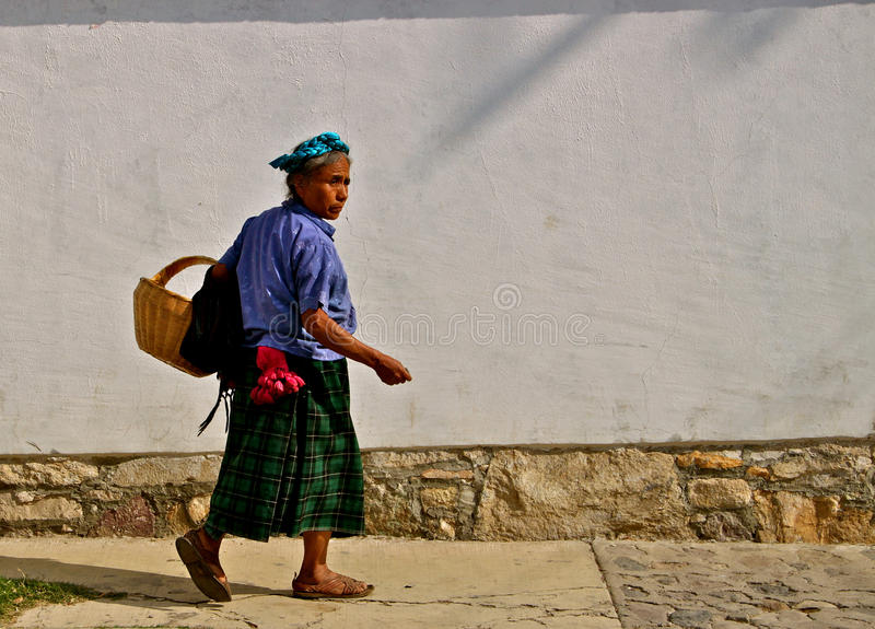 Zapotec Native Woman with Shopping Bag royalty free stock photo