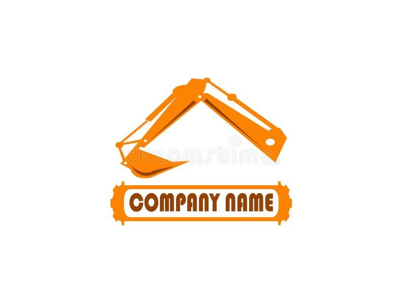 Zappatore del braccio dell'escavatore per l'illustrazione di progettazione di logo nel fondo bianco royalty illustrazione gratis