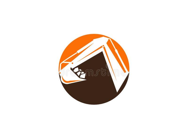 Zappatore del braccio dell'escavatore in una forma del cerchio per l'illustrazione di progettazione di logo royalty illustrazione gratis