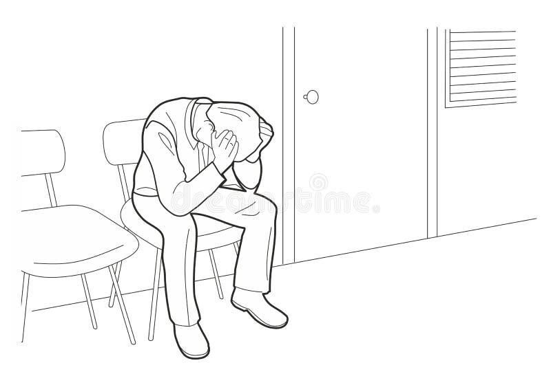 Zapracowany biznesmen jest pod stresem z migreną Zmartwiony mężczyzna, Czarna ilustracja odizolowywająca na białym tle ilustracji