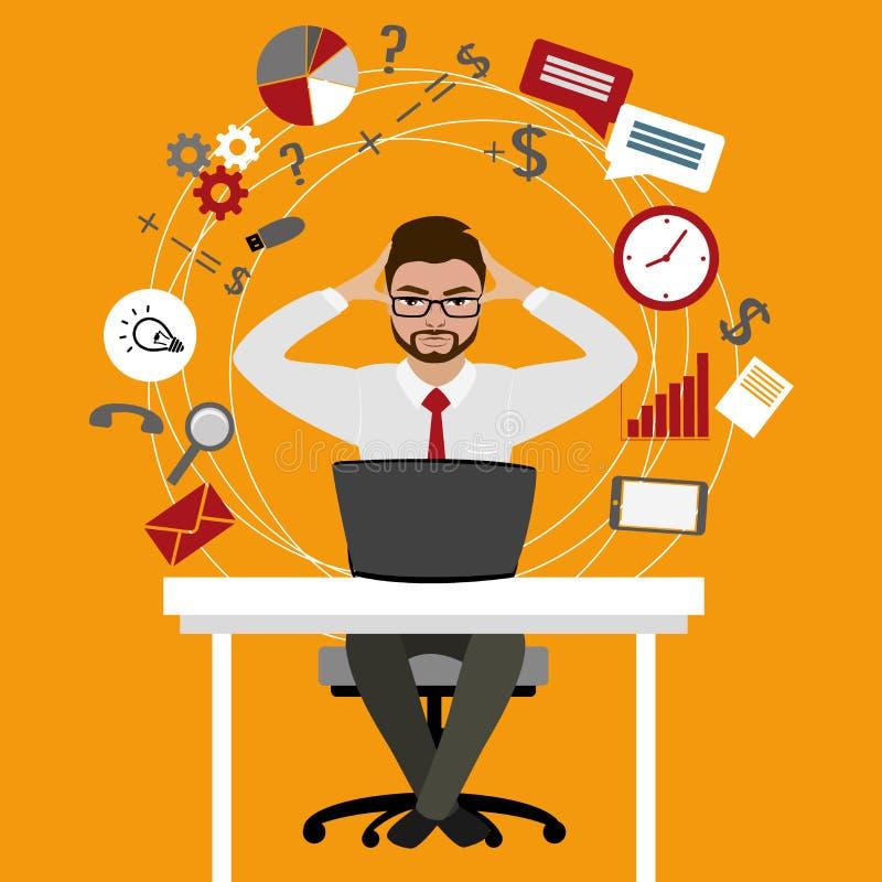 Zapracowany i zmęczony obsiadanie przy jego biznesmena lub urzędnika ilustracja wektor
