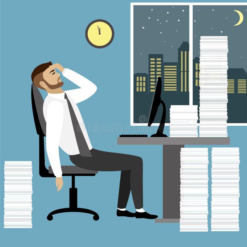 Zapracowany i zmęczony obsiadanie przy jego biznesmena lub urzędnika ilustracji