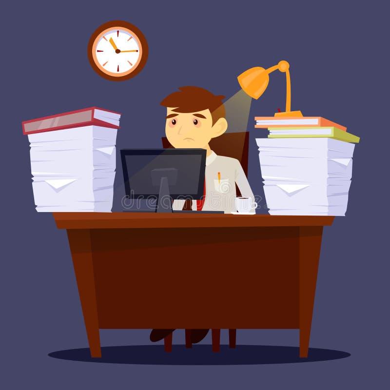 Zapracowany mężczyzna biznesmen wyczerpujące Stres przy pracą ilustracji