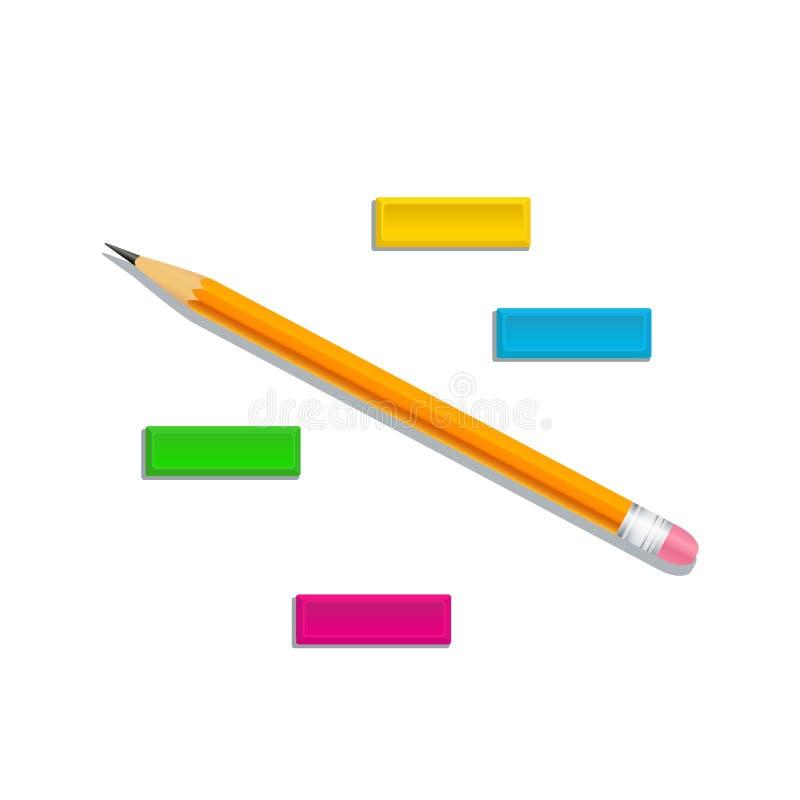 Zaprawiony realistyczny pomarańczowy drewniany ołówek z kolorowymi gumowymi gumkami odizolowywać na białym tle Projekta element d royalty ilustracja