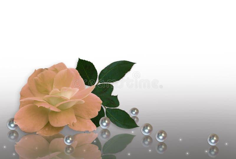 zaproszenia brzoskwini pereł różany ślub ilustracja wektor
