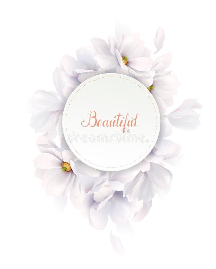 Zaproszenia lub gratulacje karta z eleganckim kwiatu składem Kwitnące białe magnolie tworzyli skład na ilustracja wektor