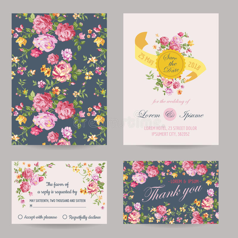 Zaproszenia lub gratulacje karty set ilustracji