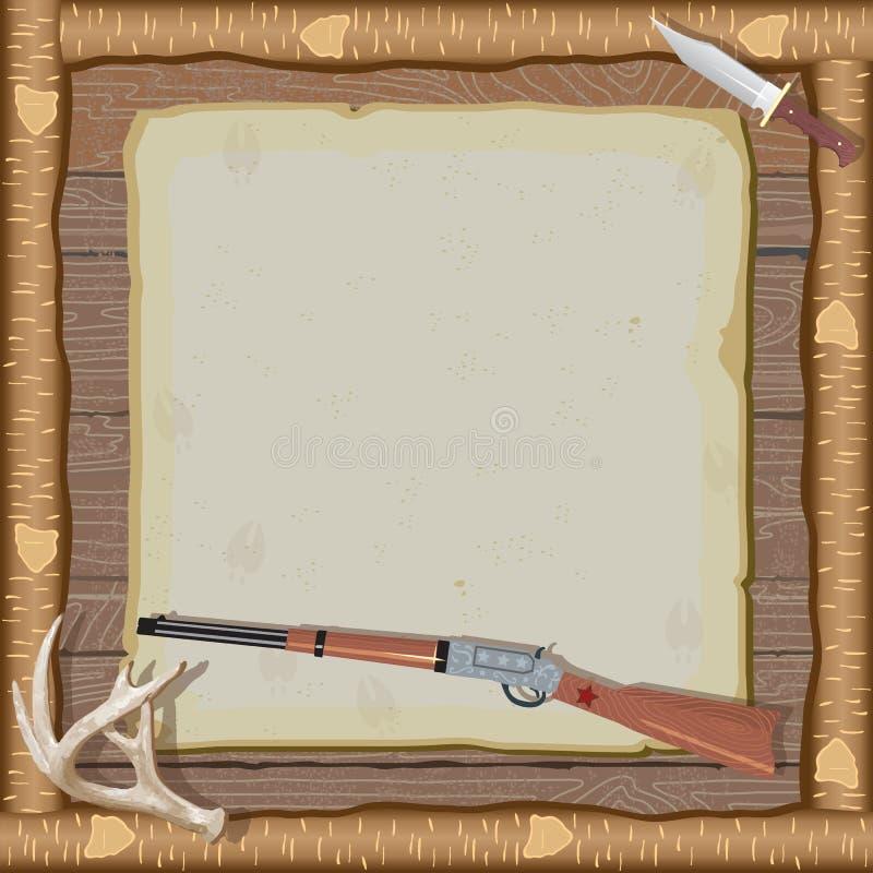 zaproszenia ramowy łowiecki drewno royalty ilustracja