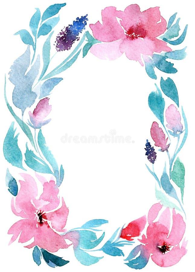 Zaproszenie ?lub, akwarela kwiaty ilustracja wektor