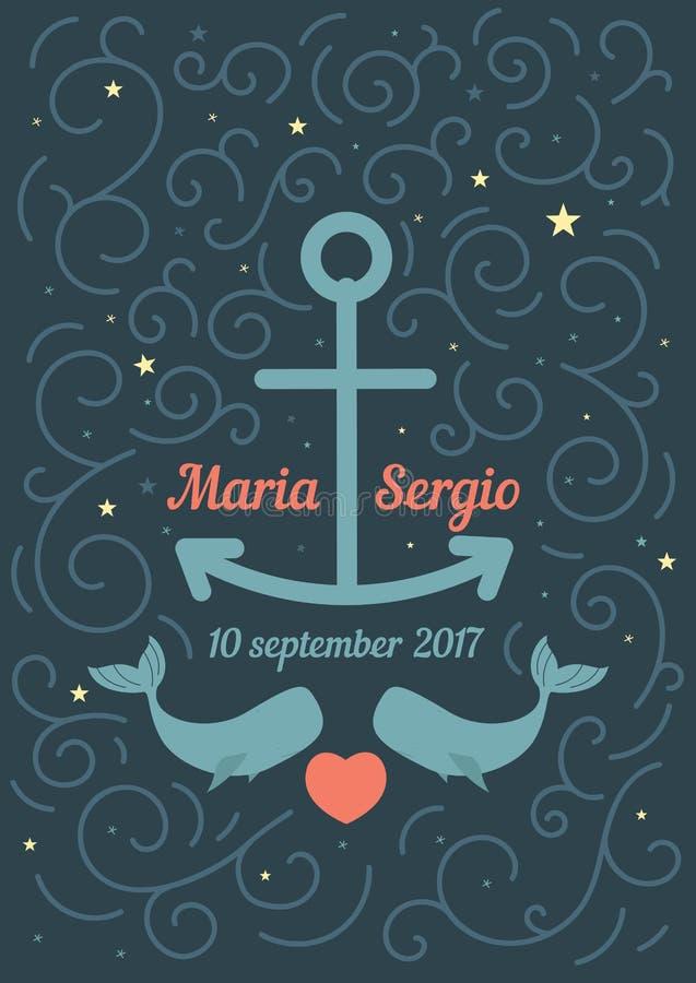 Zaproszenie ślub w morskim temacie ilustracja wektor