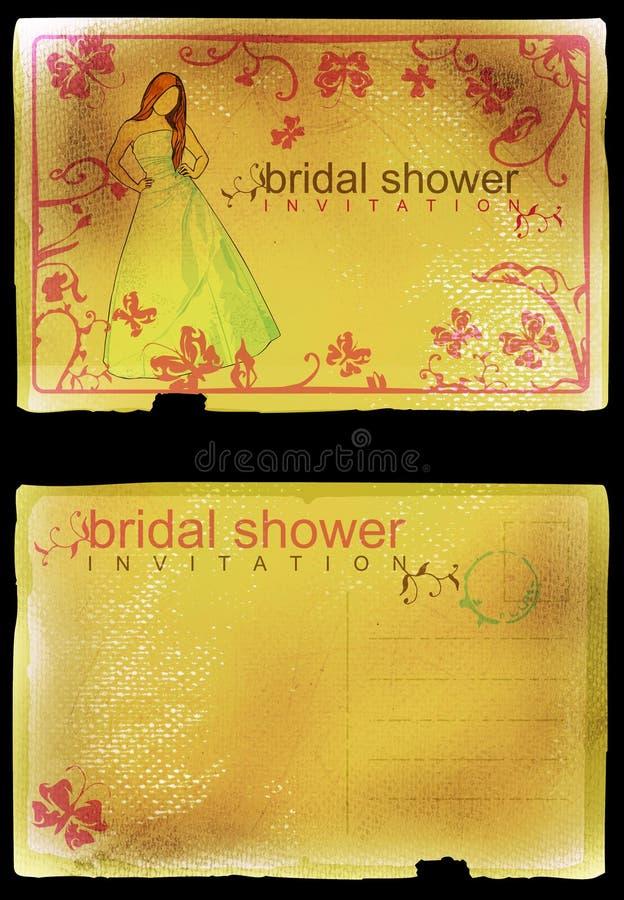 zaproszenie ślubne prysznic royalty ilustracja