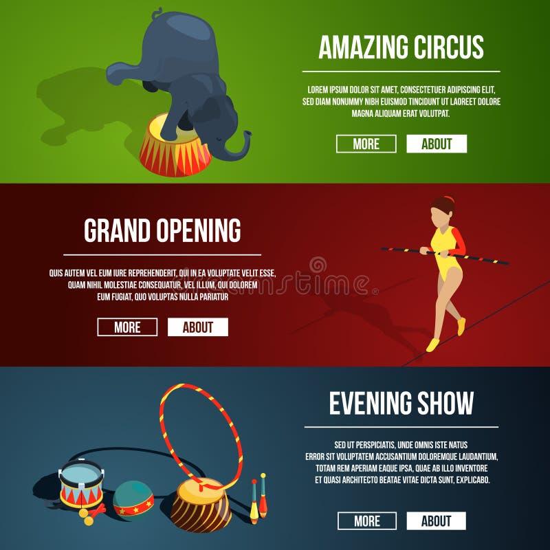 Zaproszenie cyrkowy magiczny przedstawienie Trzy horyzontalnego wektorowego sztandaru ustawiającego w kreskówka stylu ilustracji