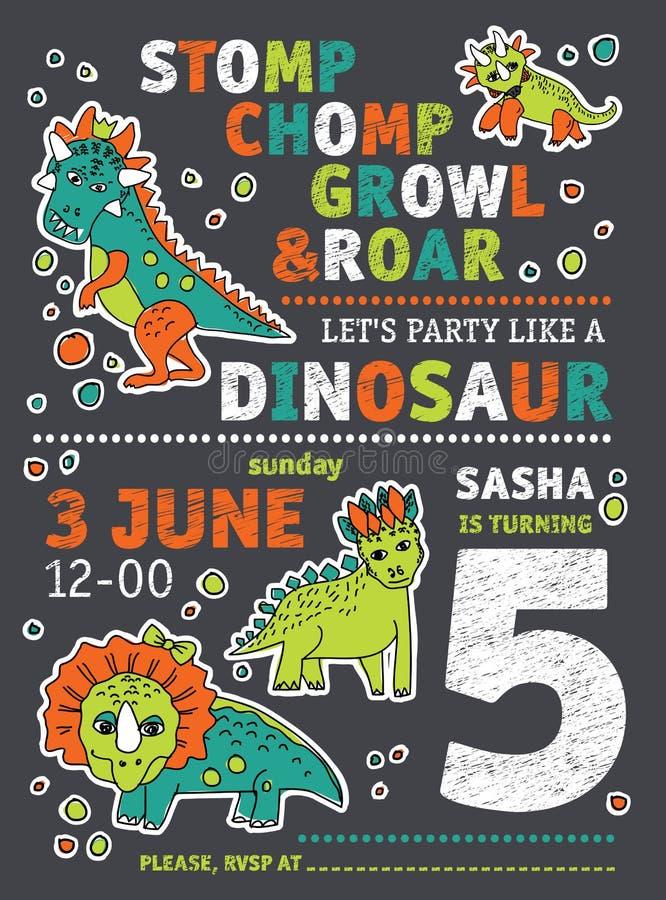 Zaproszenie dinosaurów partyjny urodziny ilustracji
