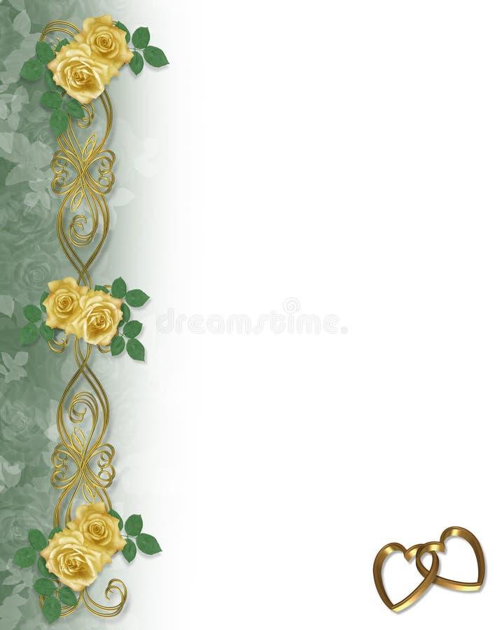 zaproszenie do partii poślubi żółte róże royalty ilustracja