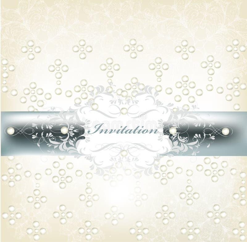 Zaproszenie elegancka ślubna karta ilustracja wektor
