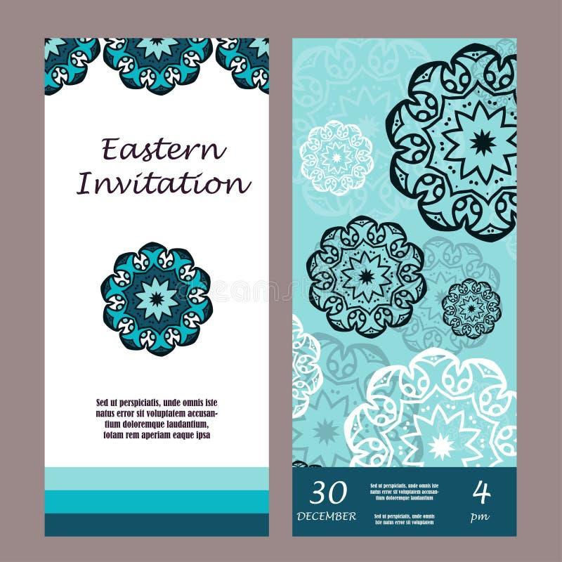 Zaproszenie graficzna karta z mandala Dekoracyjny ornament dla karcianego projekta: poślubiać partyjny, bithday, powitanie Roczni royalty ilustracja