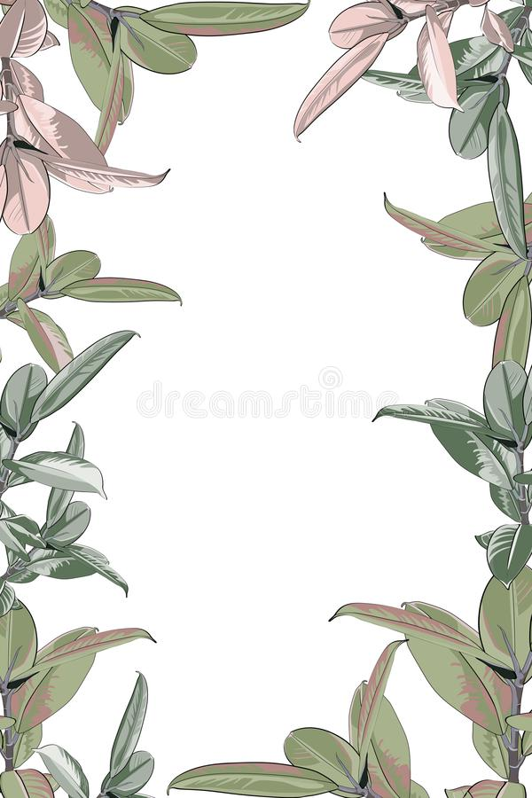 Zaproszenie karciany szablon Egzotyczna tropikalna dżungla tropikalnego lasu deszczowego zieleni ficus elastica drzewa granicy ra ilustracji